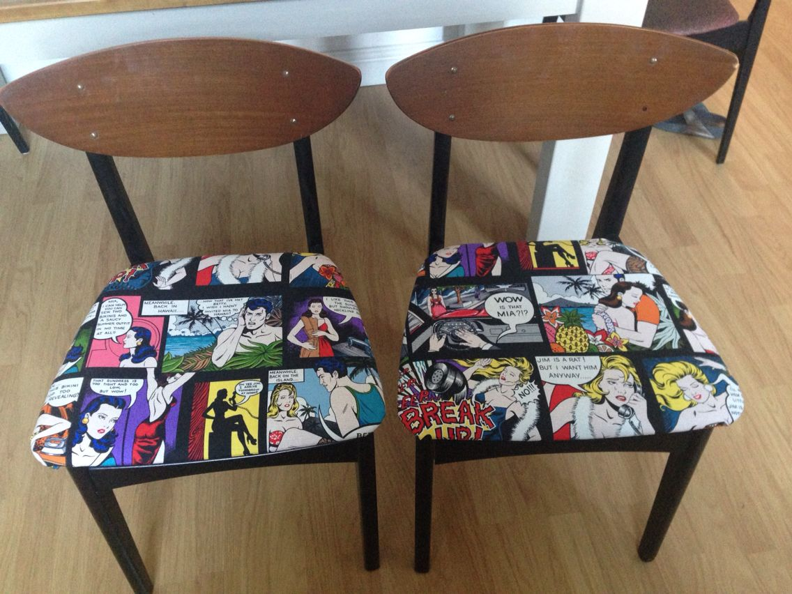 Look what we did! Recovered dining chairs