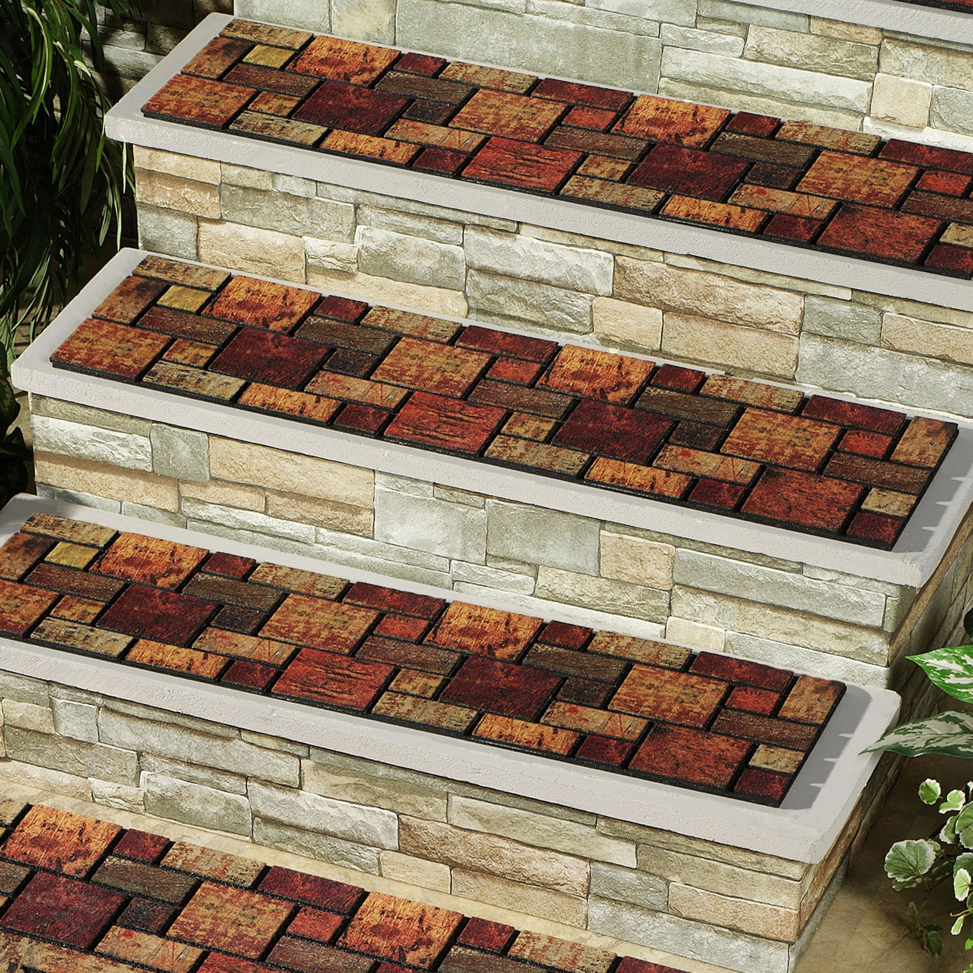 Decorative Outdoor Stair Treads | Home Textured Blocks Stair Tread Multi  Warm