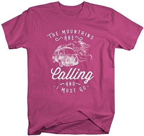 Shirts By Sarah Men's Hipster Mountains Calling T-Shirt Hiking Camping Tee