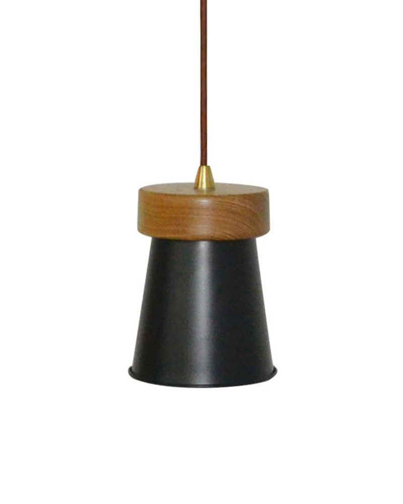 Rustic style pendant light with wooden holder u cone black shade
