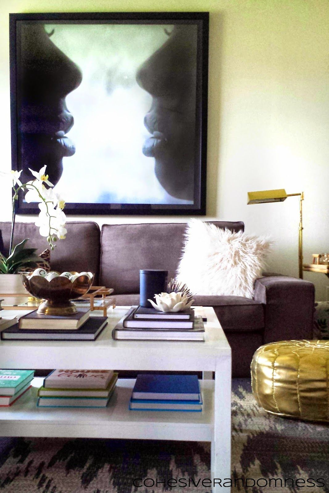 diy lacquer furniture. CohesiveRandomness: Living Room: Kivik Sofa, White Lacquer Coffee Table, Table Styling Diy Furniture