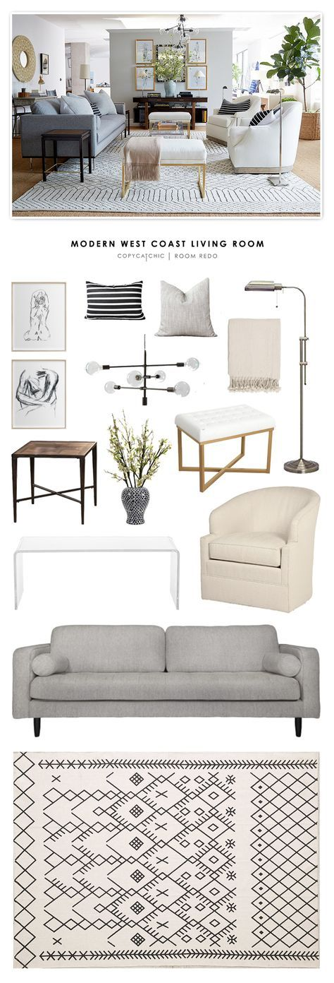 Copy cat chic room redo modern west coast living room for Muebles industriales baratos