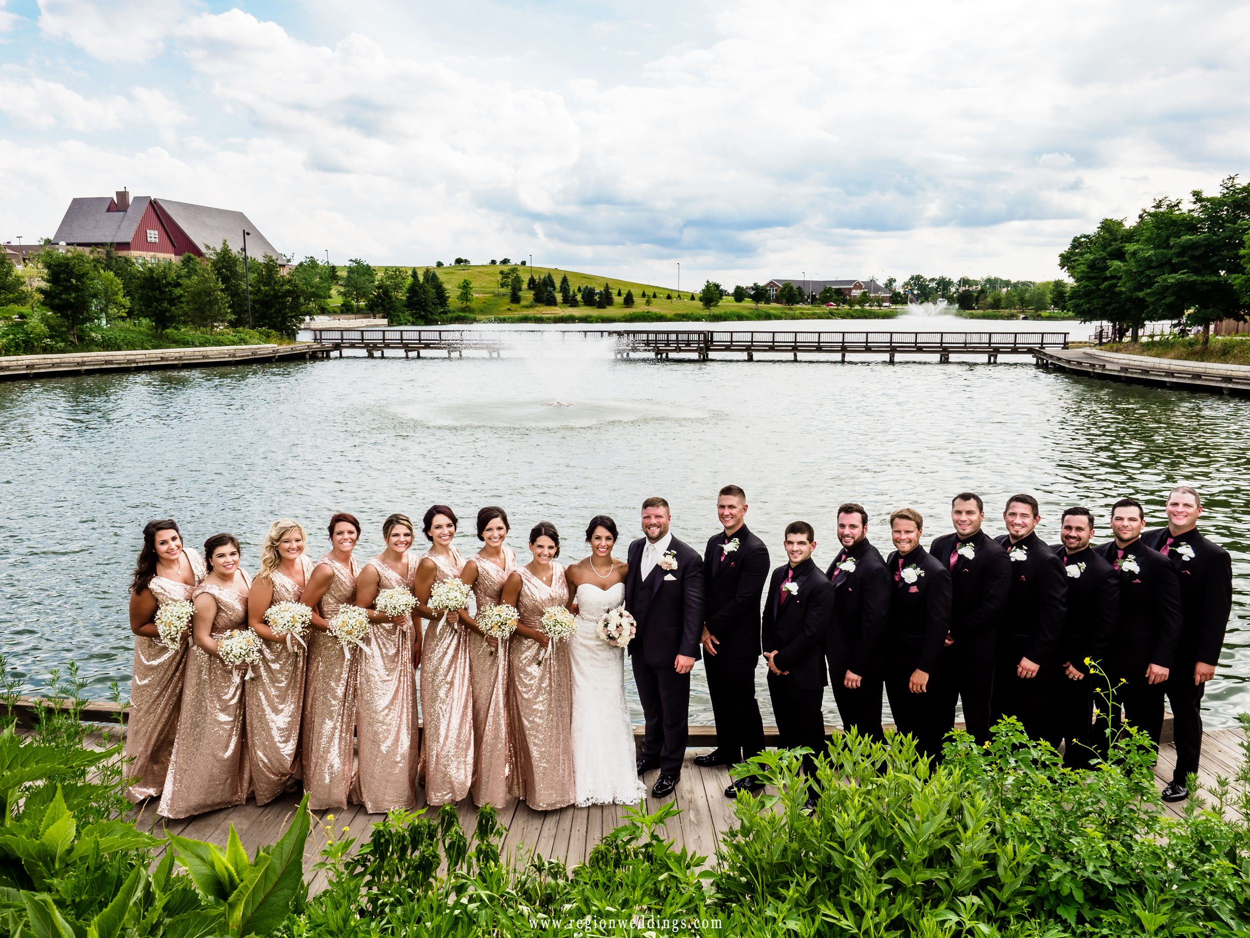 Wedding party group photos overlooking the lake fountain at ...