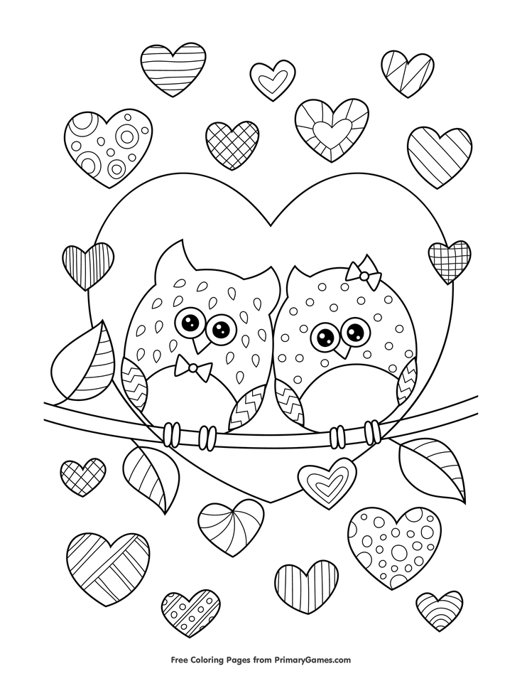 Valentine S Day Coloring Pages Ebook Owls In Love With Hearts