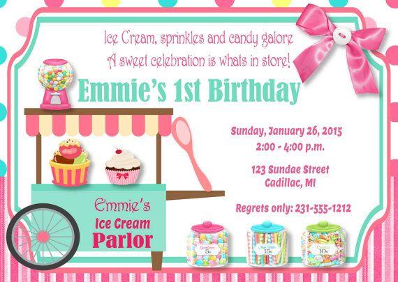 Ice Cream Parlor Birthday Invitation - Sweet Celebration Ice Cream - invitation for 1st birthday party girl