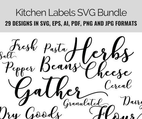 Kitchen Labels Basics SVG Bundle 29 design set incl