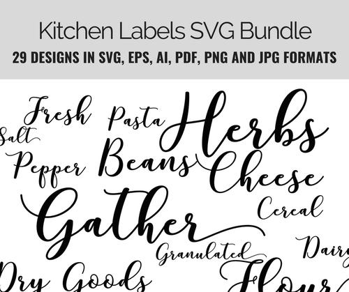 Kitchen Labels Basics SVG Bundle 29 design set incl
