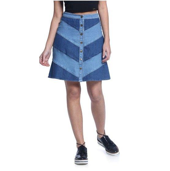 0957d64f23 Saia Secretária Jeans - Damyller | джи | Saias jeans, Jeans e Roupas ...