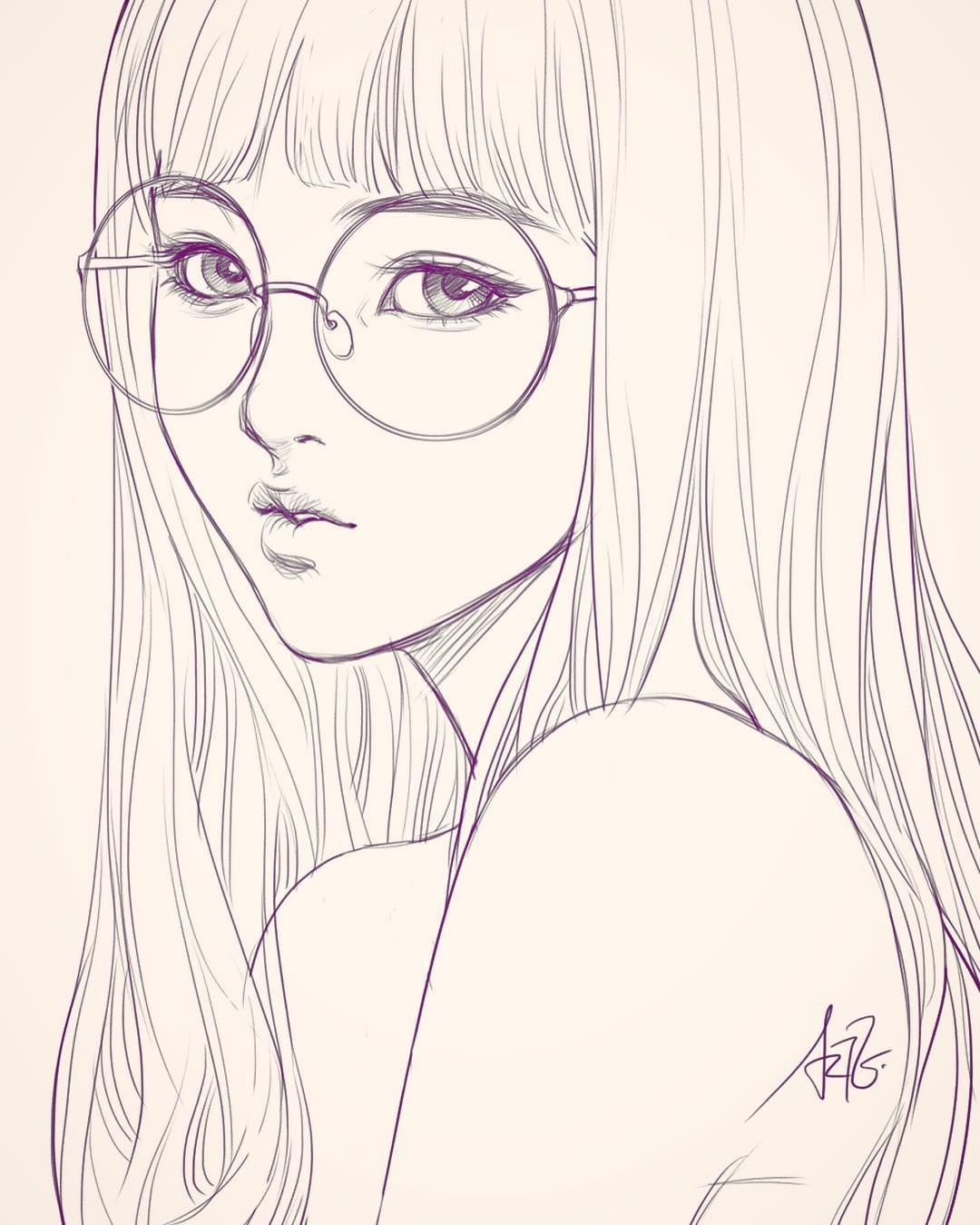 Drawing Lines Year : Last sketch of girl with glasses having bad backache it