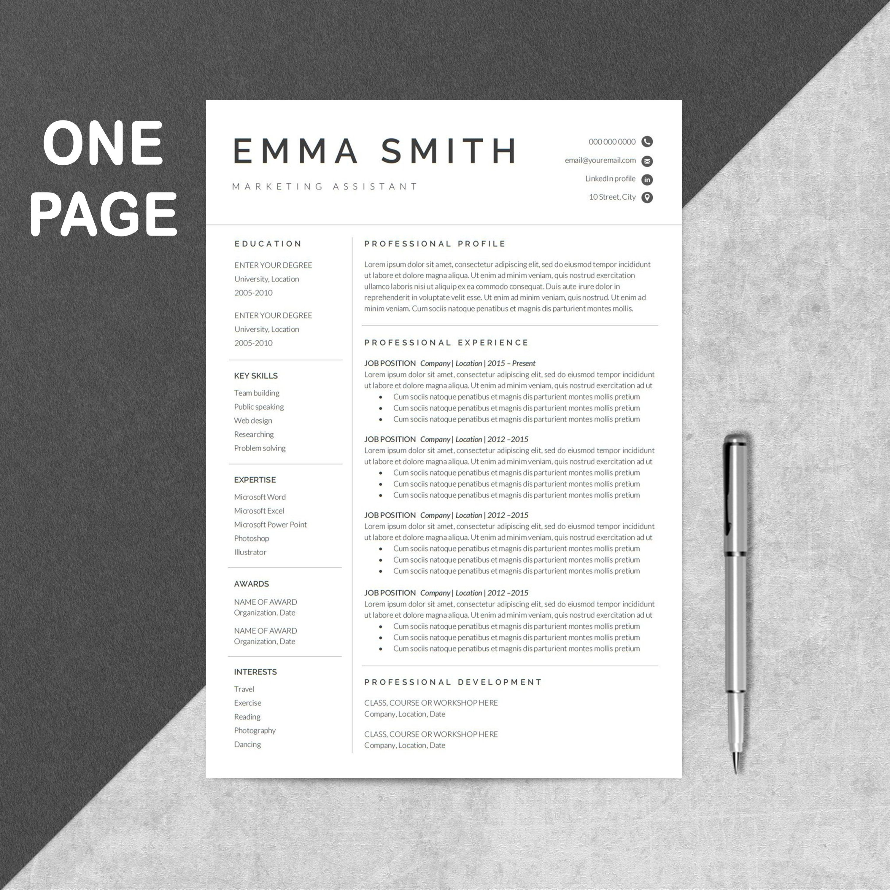 Resume Template   1 Page Resume   Professional Resume   Modern ...