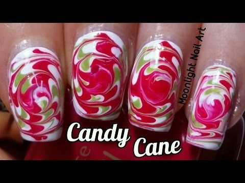 Candy Cane Swirl Dry Marble Nail Art Toothpick Tutorial Youtube