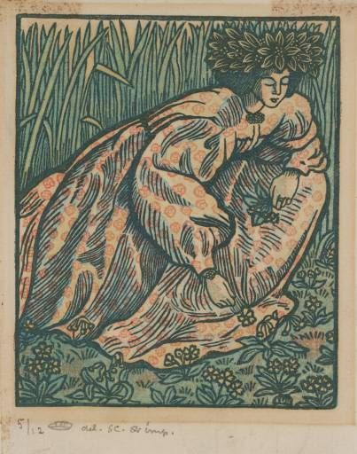 Lucien Pissarro: Girl Picking Flowers; four block color wood-engraving. circa 1902