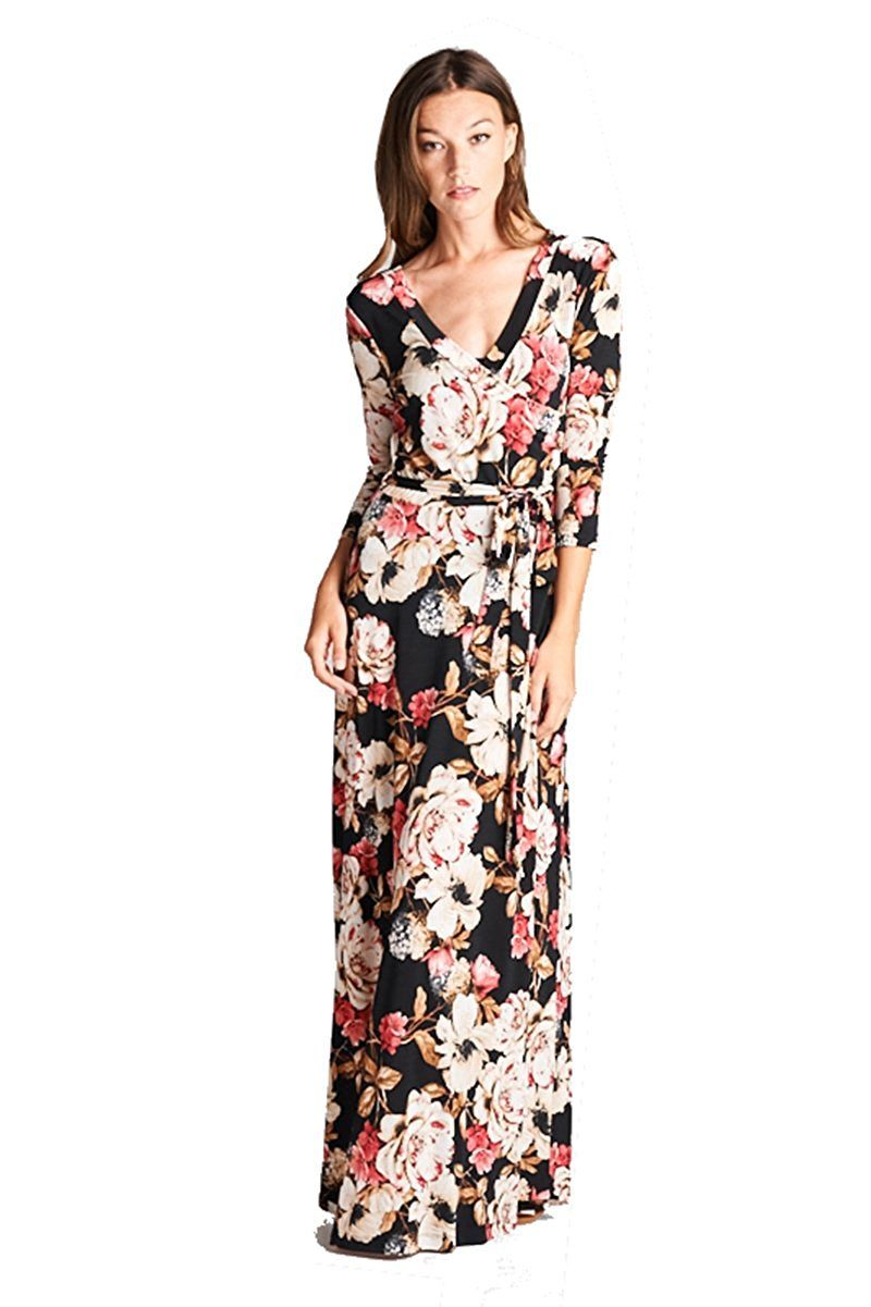 On Trend Women S Paris Bohemian 3 X2f 4 Sleeve Faux Wrap Long Maxi Resort Dress At Amazon Women S Clothing Store Resort Dresses Dresses Long Maxi Dress [ 1201 x 800 Pixel ]