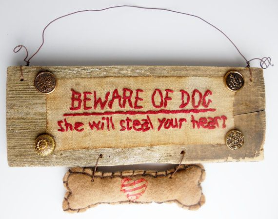 PRIMITIVE Sign for FEMALE DOG On Reclaimed Wood: by CornCobCove