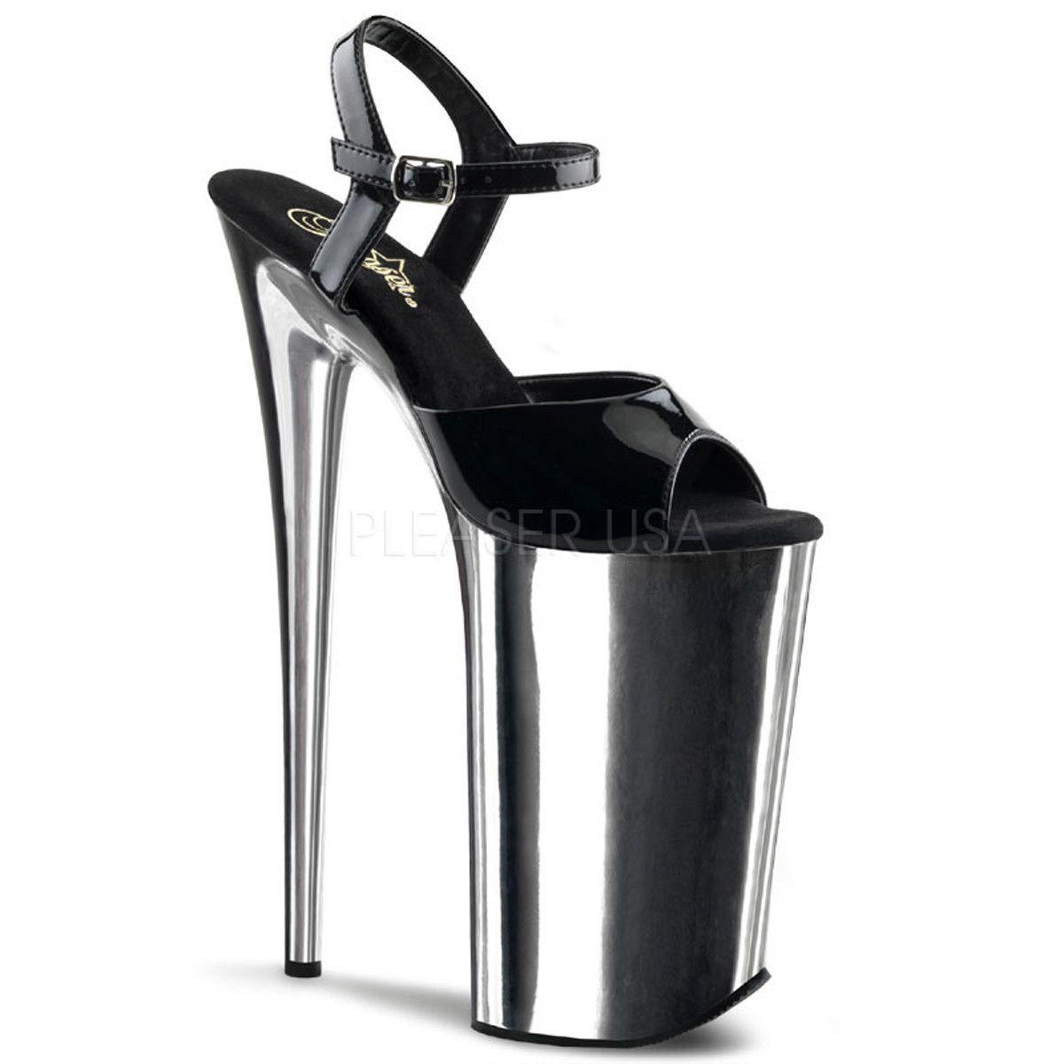 ecdb7df2765 PLEASER BEYOND-009 Black-Silver Chrome Extreme 10 Inch High Heels ...