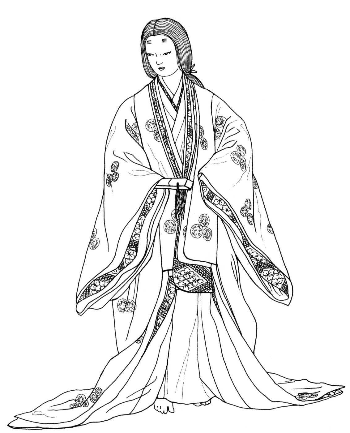 momoyama upper warrior class formal dress many layers of robes