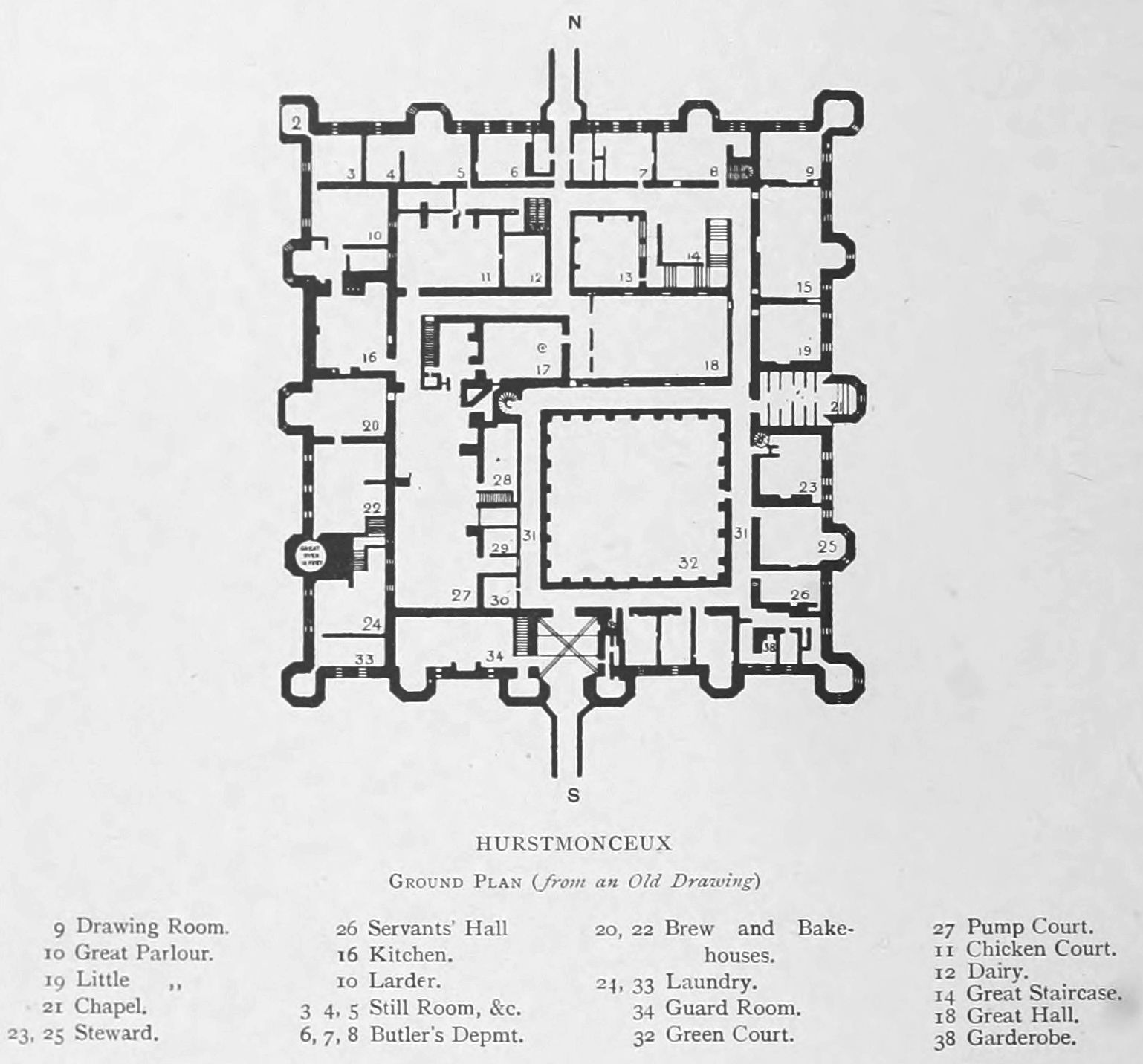 Furthermore medieval manor house on floor plans with central - Herstmonceux Castle Ground Floor