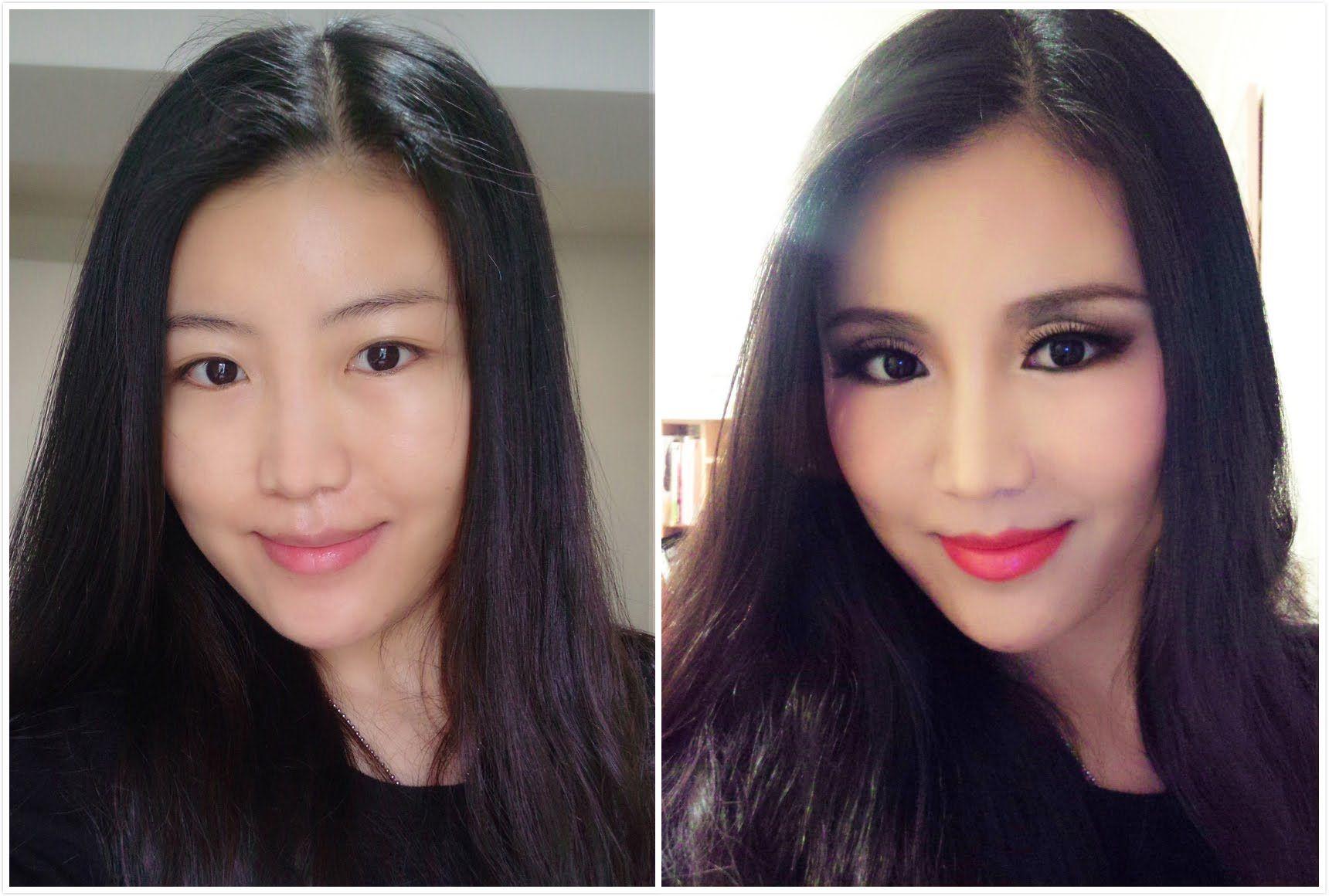 fake eye crease/cut crease makeup transformation (Asian eyes .