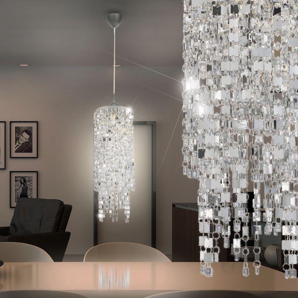 Suspension luminaire plafond design chrome argent brillant salle