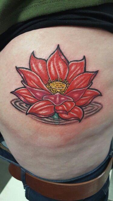 Red Lotus Flower Tattoo Tattoo Ideas Leaf Tattoos Tattoos Flowers