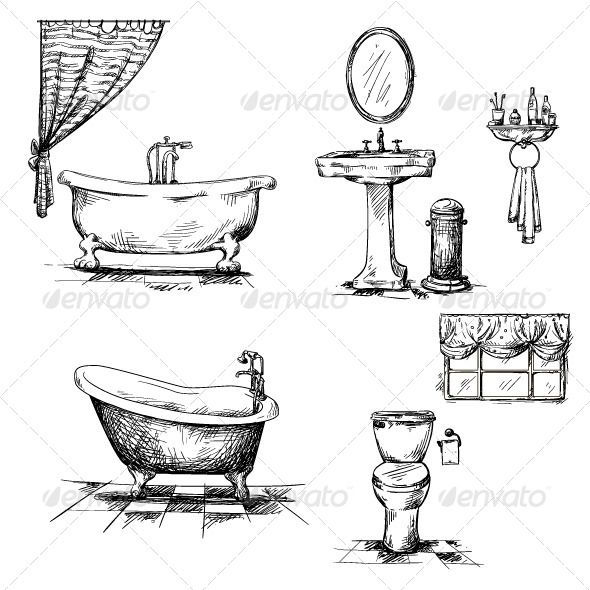 Bathroom Interior Elements Painting Bathtub Bathroom Drawing