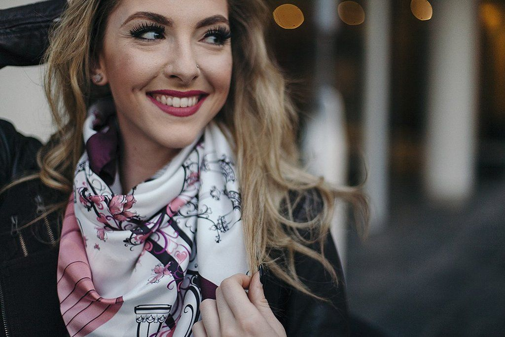 Stay trendy and spread the special allure of urban fashion with our Paris Love - Silk Twill Square Scarf; creatively designed with beautiful patterns which highlight the ambience of the love and roman