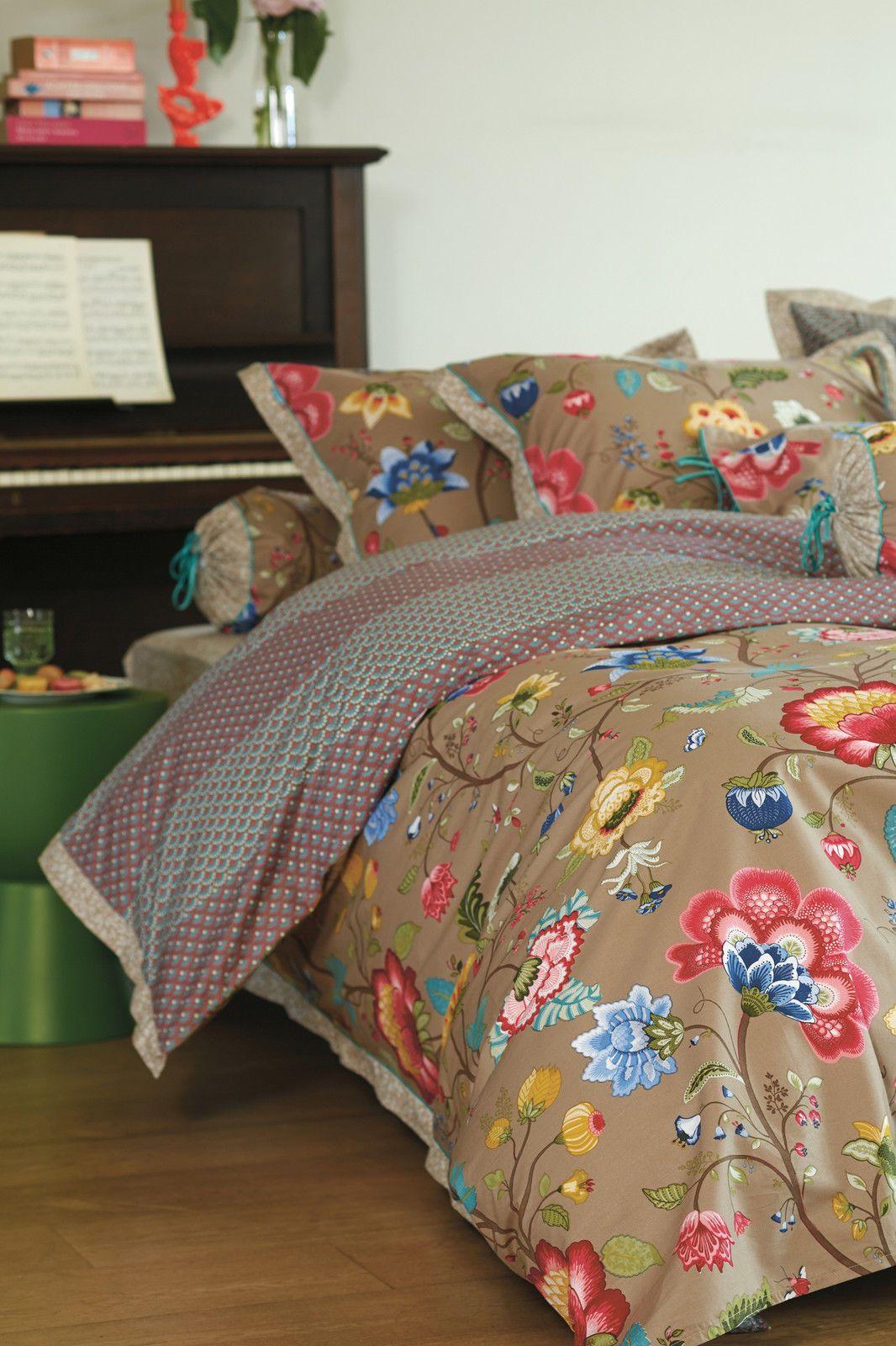 pip bettw sche floral fantasy khaki 135x200 80x80 cm ebay bedding pinterest. Black Bedroom Furniture Sets. Home Design Ideas