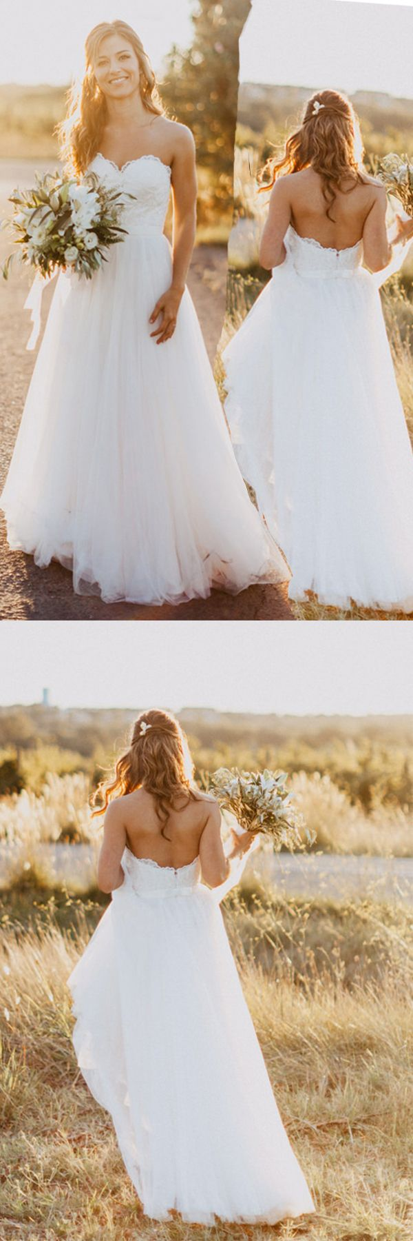 Sweetheart floorlength ivory wedding dress with lace wd in