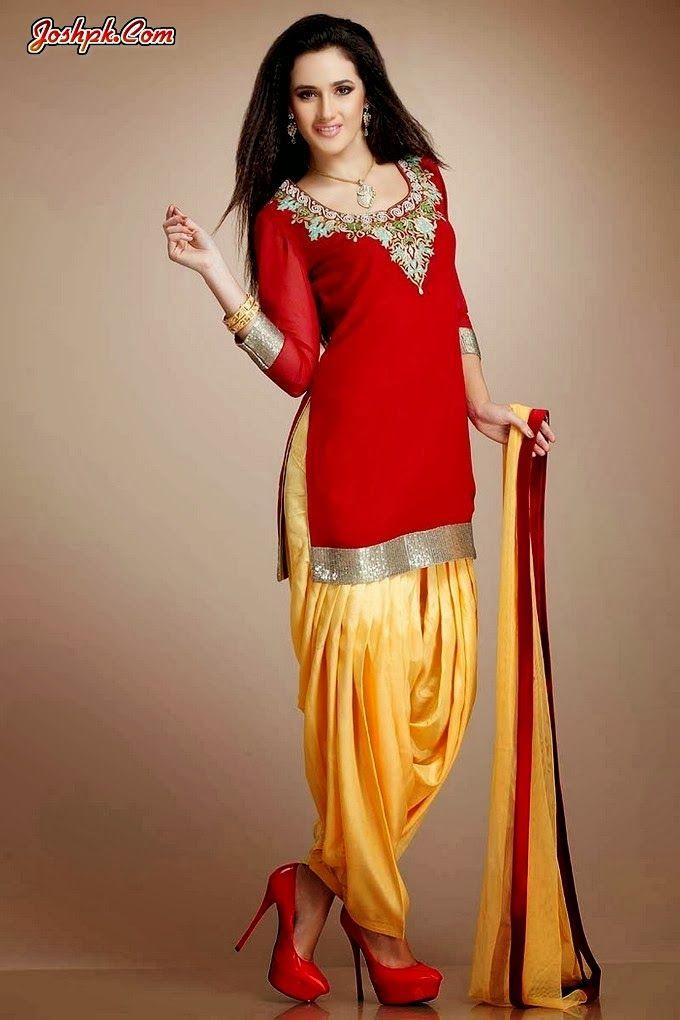 Latest punjabi patiala salwar with short kurta collection for Girls suit design
