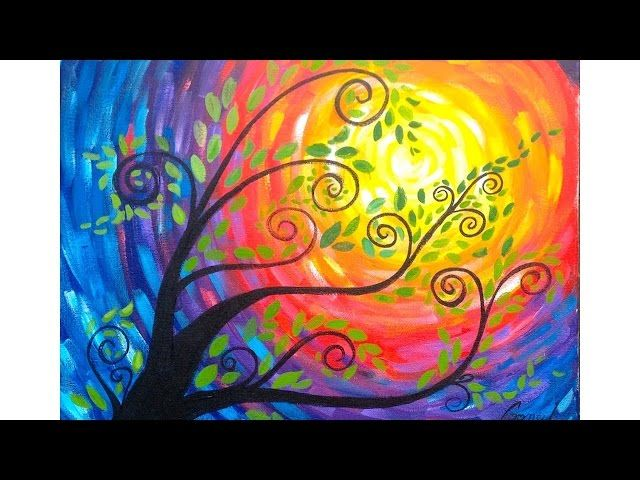Easy Tree Painting You Can Do In A Sitting At Home This Beginner Acrylic Tutorial Covers All The Steps And Tricks Need To Have Funs Succeed