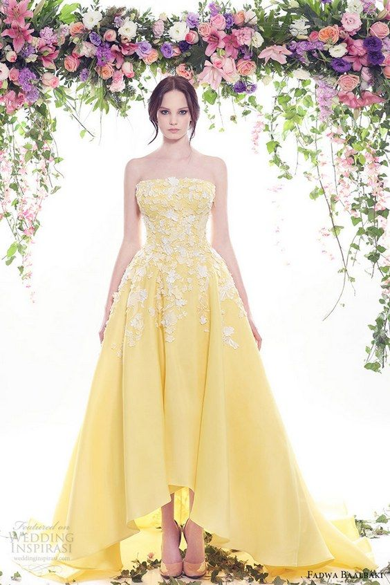 fadwa baalbaki spring 2016 couture strapless straight across dress yellow color mv / http://www.himisspuff.com/colorful-non-white-wedding-dresses/11/