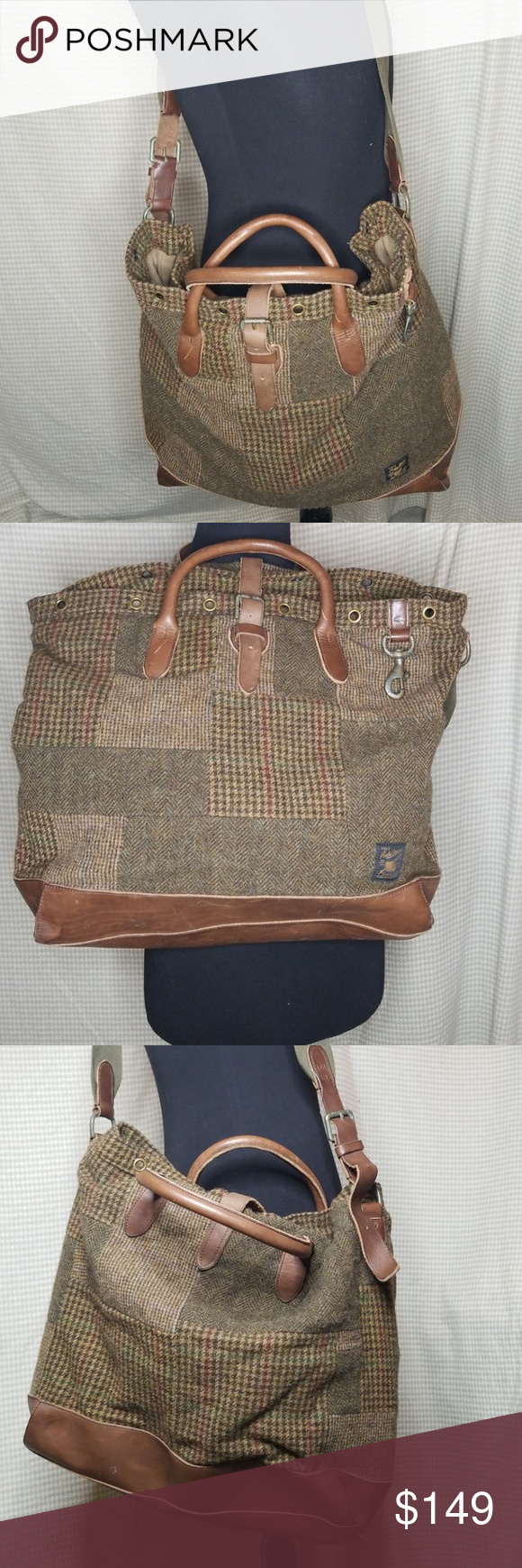 d2b1101abfd Polo Ralph Lauren overnight bag in wool patchwork Absolutely gorgeous wool  patchwork plaid print and 100