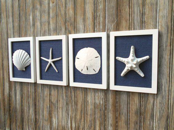 Photo of Cottage Chic Set of Beach Decor, Wall Art, Nautical Decor, Coastal Decor, Beach Wall Art, Beach Nursery, Coastal Art, Navy Blue & White