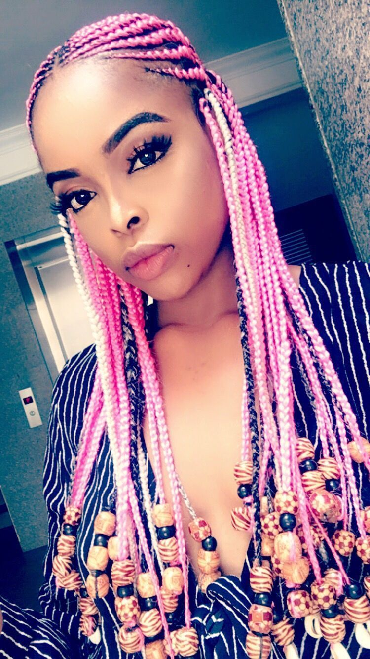 pink tribal braids with beads