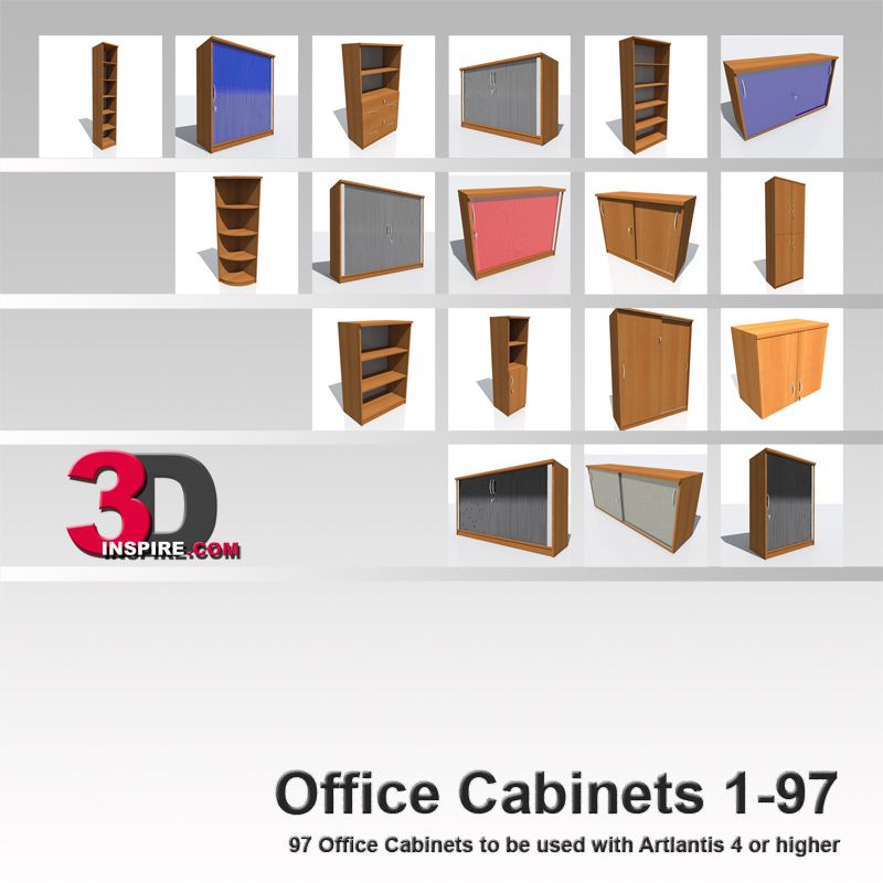 This collection contains the office cabinets 1-97 which are also available to purchase separately. The objects are modeled with fast rendertimes in mind. The amount of polygons is kept low. Perfect for filling the environment of your scene. The tables can be combined to design offices, conference rooms and meeting roomsThe objects use standard Artlantis shaders and can be used with Artlantis 4 or higher.
