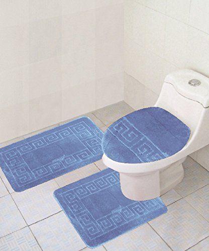 Nice 3 Piece Bath Rug Set Chain Pattern Bathroom Rug Light Blue 18