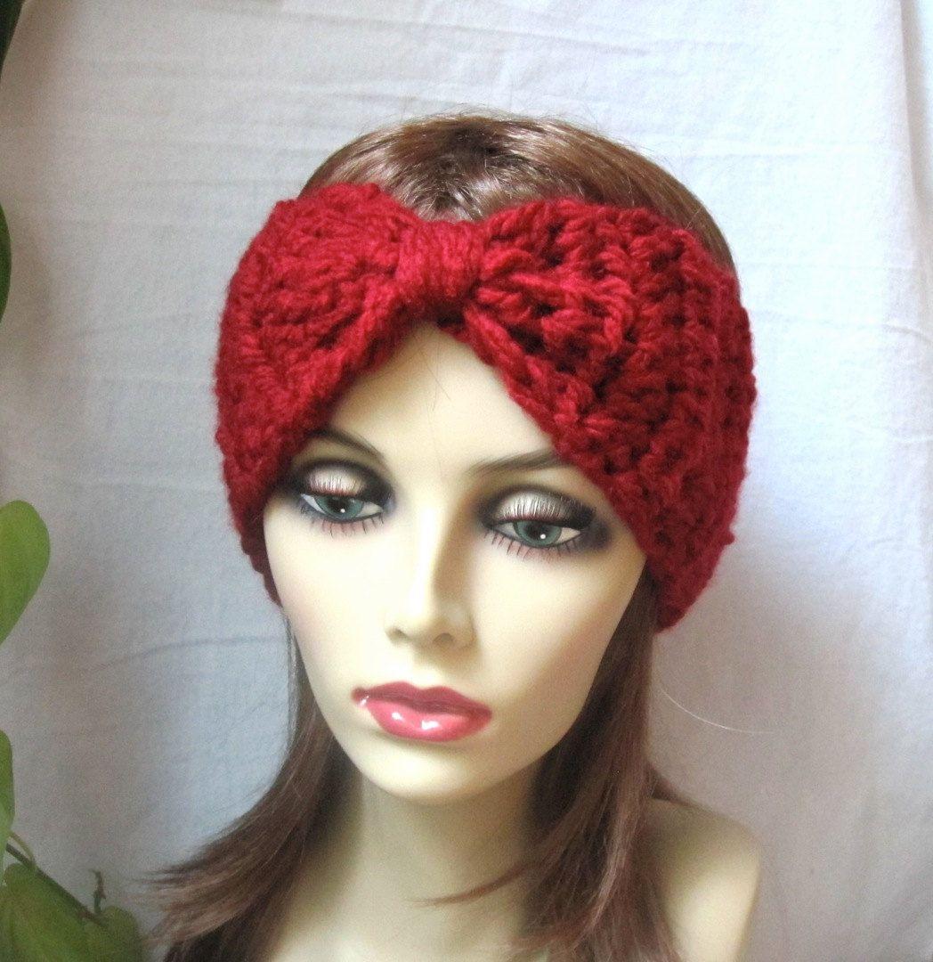 Crochet headband ear warmer red turban ski headband chunky crochet headband ear warmer red turban ski headband chunky gifts for bankloansurffo Image collections