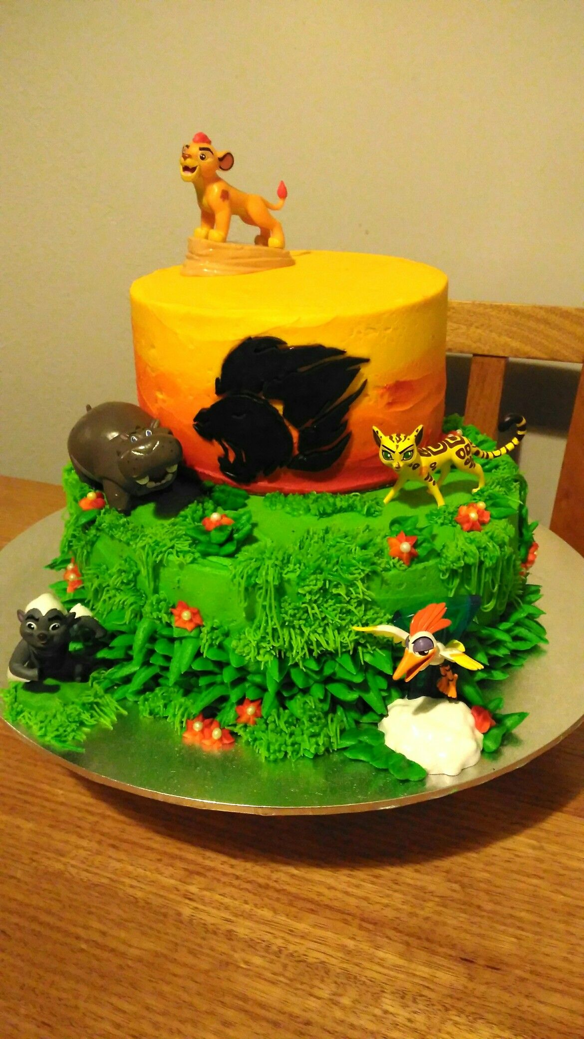 The Lion Guard themed cake 2 tier chocolate with buttercream