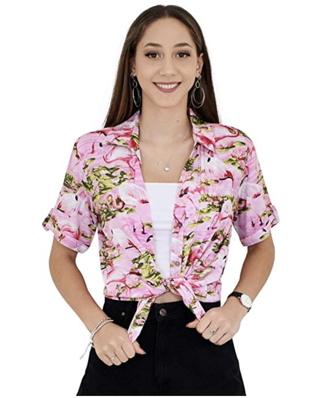 1dbcba354f0bb8 Single and Ready to Flamingle in this fabulous party print. Ladies Cut Hawaiian  shirts in