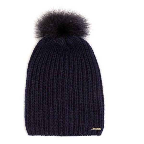58ac47547171e3 Fur-pompom cashmere beanie hat (2 125 ZAR) ❤ liked on Polyvore featuring  accessories, hats, navy, cashmere beanie, cashmere pom pom hat, fur pom-pom  hats, ...