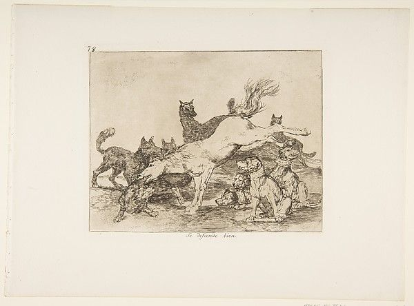 Goya (Francisco de Goya y Lucientes) | Plate 78 from 'The Disasters of War' (Los Desastres de la Guerra): 'He defends himself well' ' (Se defiende bien.) | The Met