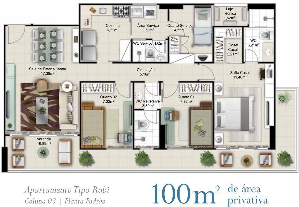 Plantas apartamentos 100m2 pesquisa google house for Departamentos decorados con plantas