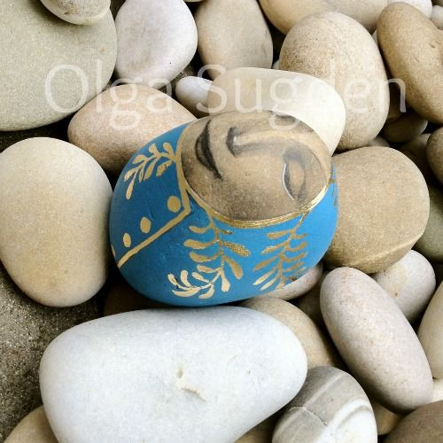 goldeneggstudio: rock painting painted stone