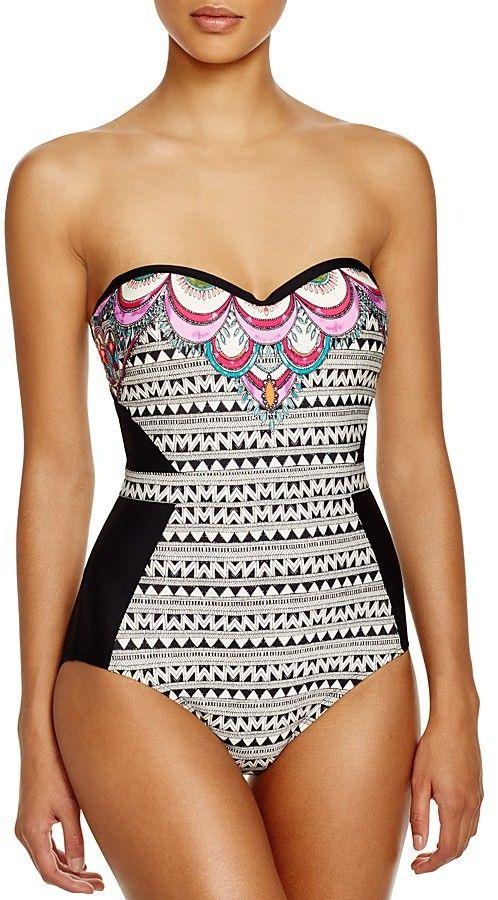 2e730457ab1 Laundry by Shelli Segal Maharaji Border Bandeau One Piece Swimsuit ...