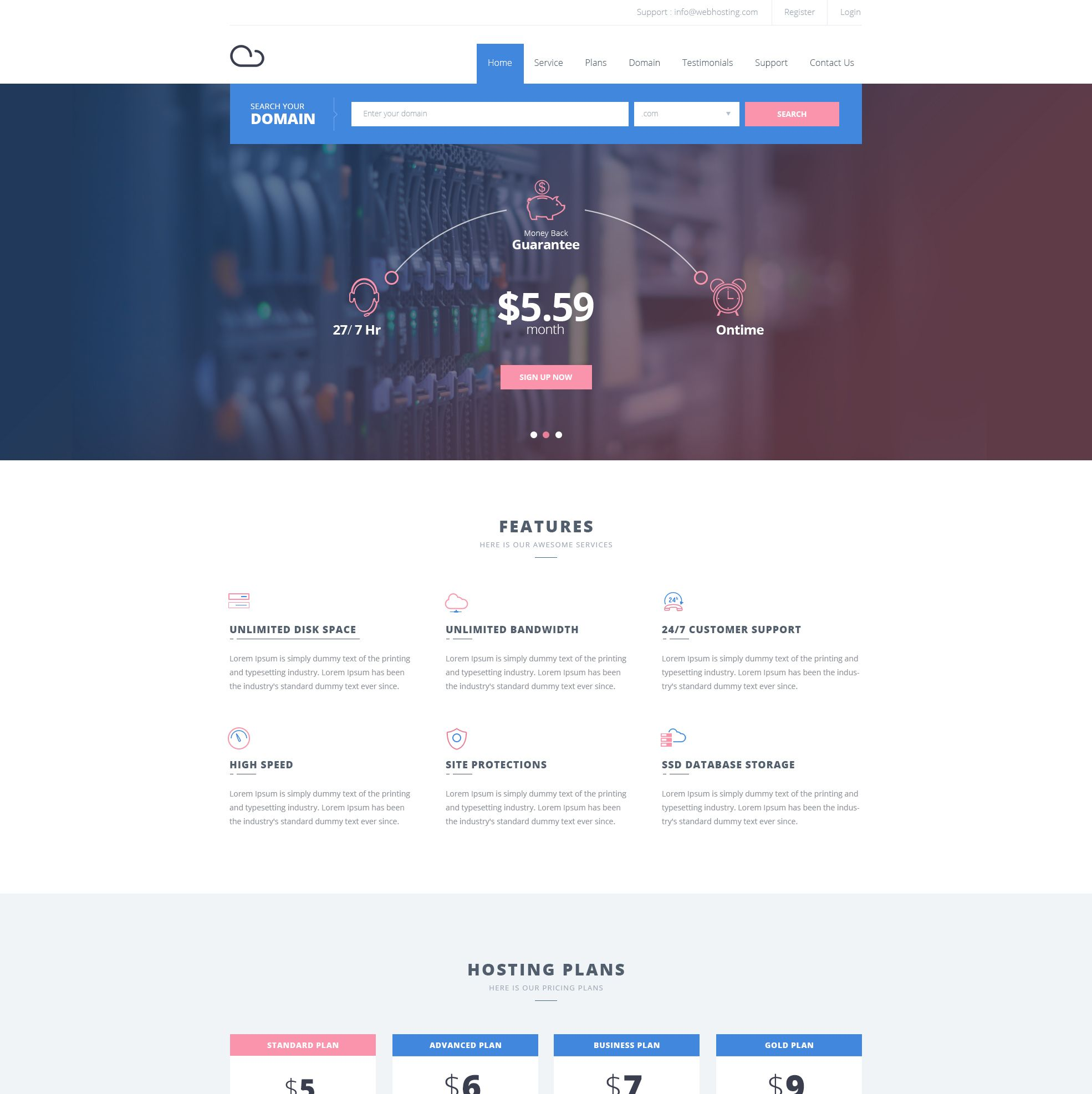 Free Hosting Website Template | Hosting website, Template and Website