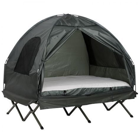 Photo of Outsunny 2 Person Compact Pop Up Portable Folding Outdoor Elevated All in One Camping Cot Tent Combo Set|AOSOM.COM