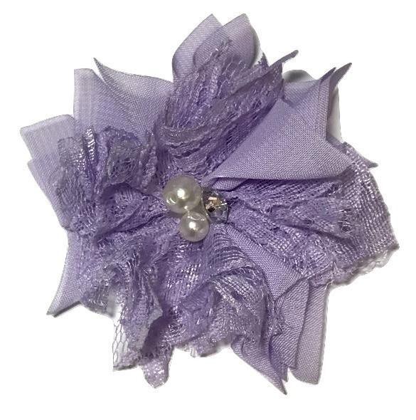 "Lavender 3"" chiffon lace folded flowers w/ rhinestones & pearls"