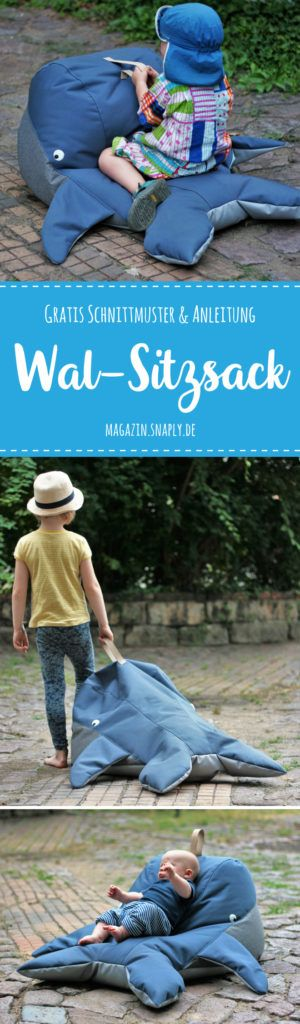 Wal-Sitzsack nähen - gratis Schnittmuster & Nähanleitung | Snaply-Magazin #strickanleitungbaby