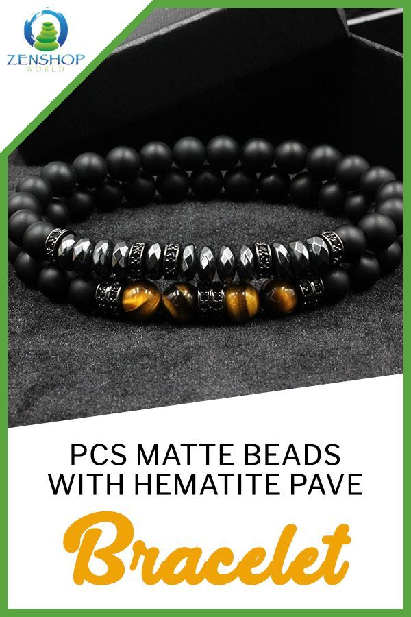 2 PCS MATTE BEADS WITH HEMATITE PAVE BRACELET SET