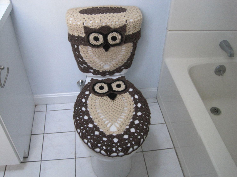 Peachy Crochet Set Of 3 Items Owl Toilet Tank Lid Cover Tank Wrap Dailytribune Chair Design For Home Dailytribuneorg